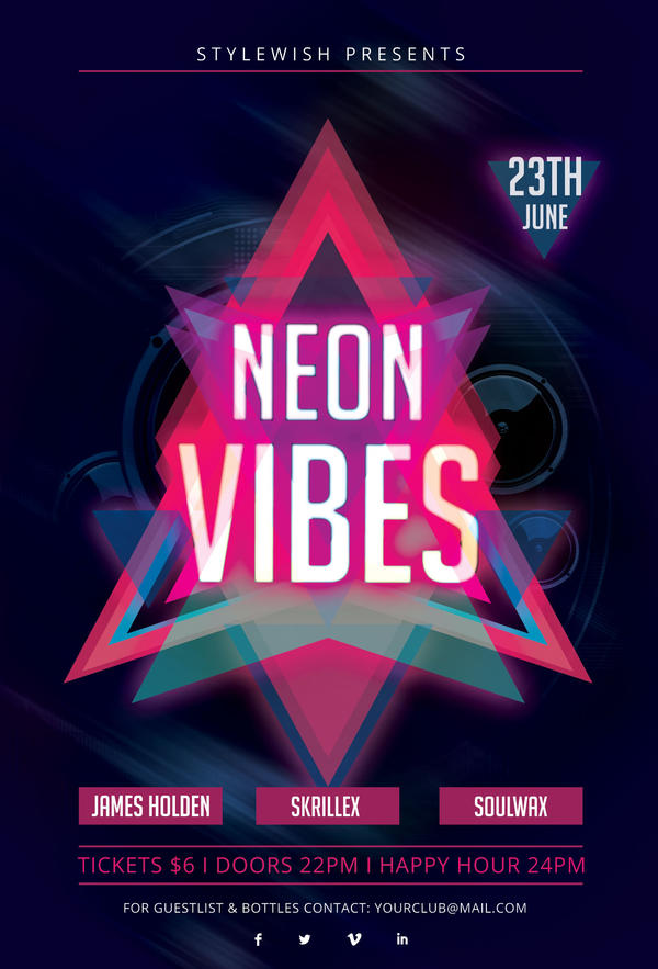 Neon Party Flyer – images free download