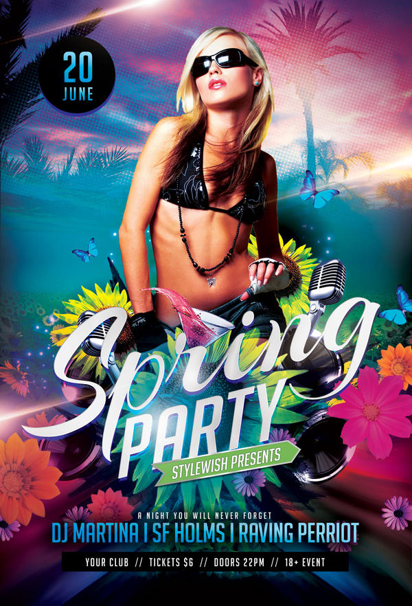 Spring Party Flyer By Stylewish On Deviantart