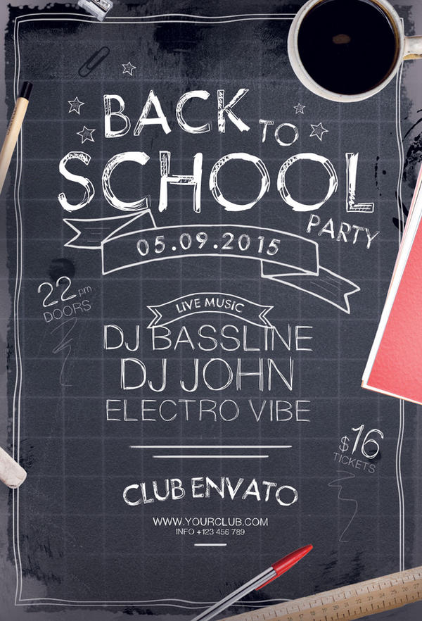 back to school party flyer by stylewish on deviantart