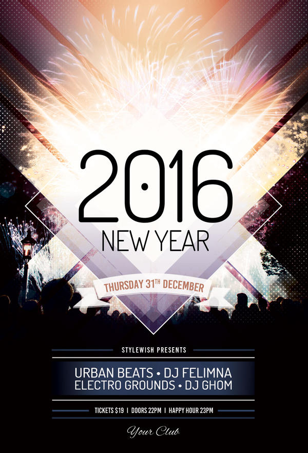 New Year Flyer Template by styleWish on DeviantArt