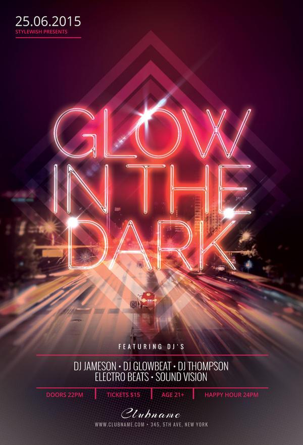 glow in the dark flyer template by stylewish on deviantart