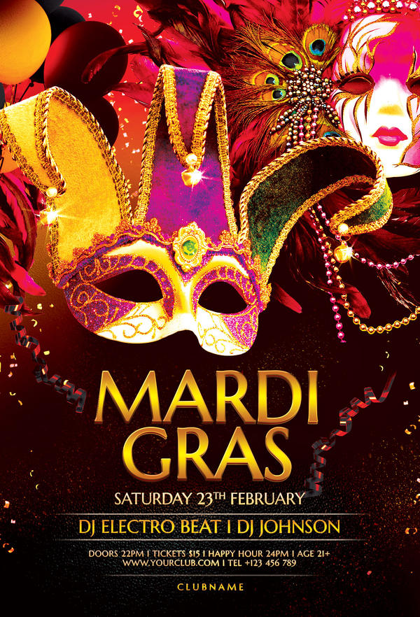 Mardi Gras Flyer Template By Stylewish On Deviantart