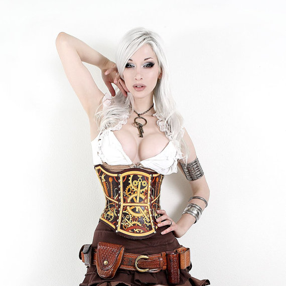 Hard Leather Clockwork Corset by BruteForceStudios