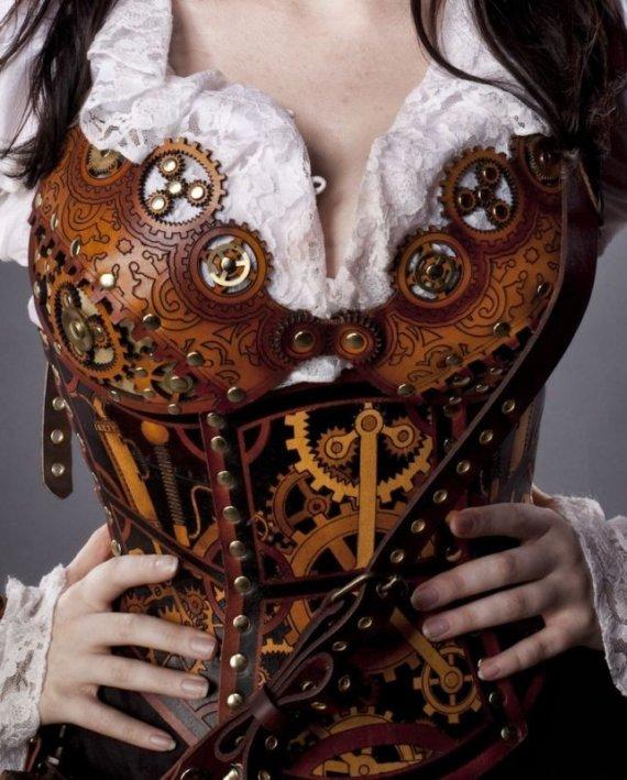 Hard Leather Clockwork Bra by BruteForceStudios