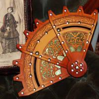 Leather and Brass Folding Fan by BruteForceStudios