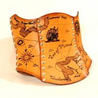 Hard Leather Treasure Map Corset