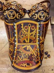 Hard Leather Clockwork Corset and Bra