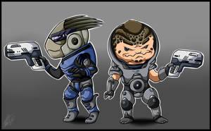 Mass Effect 3 Chibi Garrus and Grunt by Sweetochii