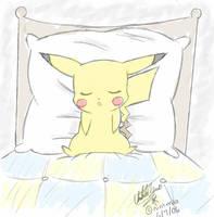 SLEEPING PIKACHU by Sweetochii