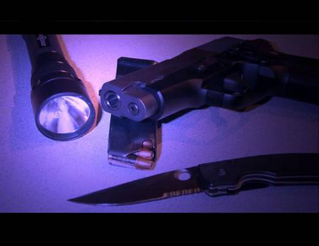 Guns, knives, flashlights