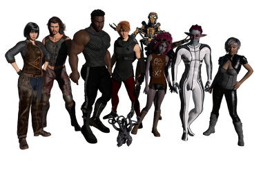 Crew of the Cobalt Solace by AlleyKatArt