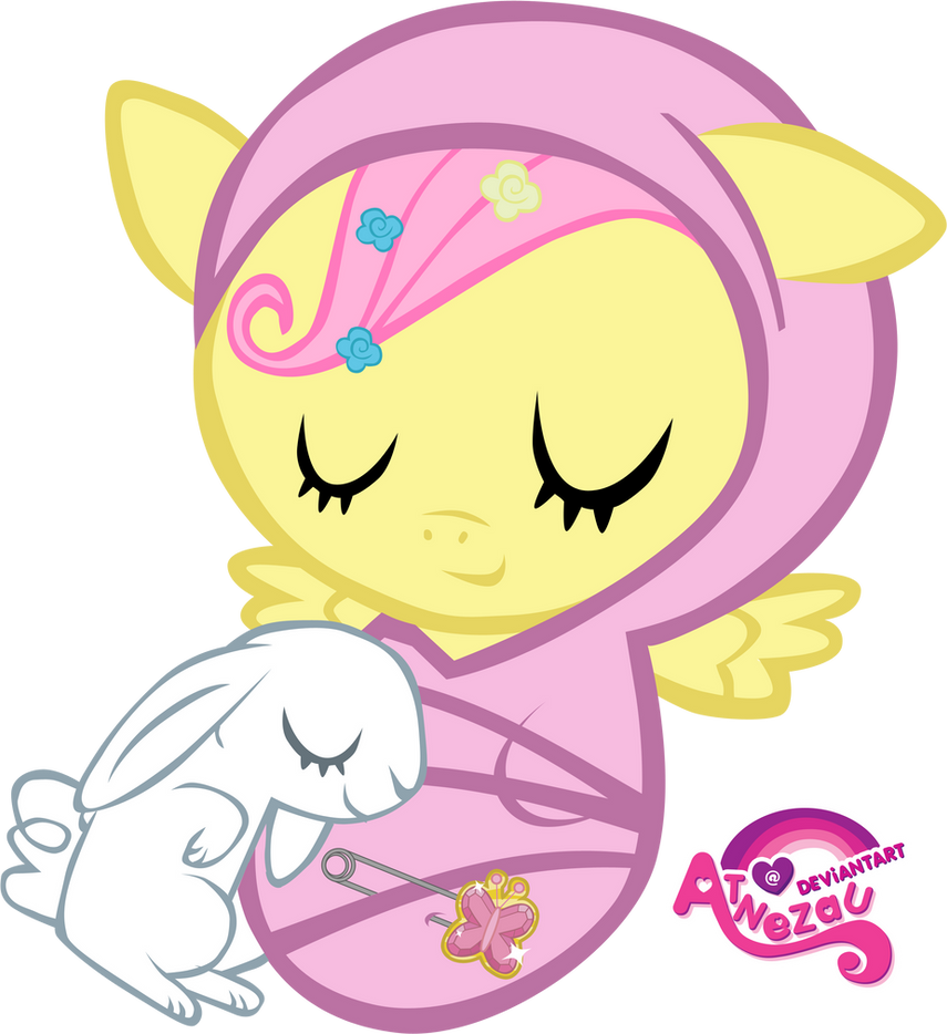 Newborn Fluttershy Asleep by atnezau
