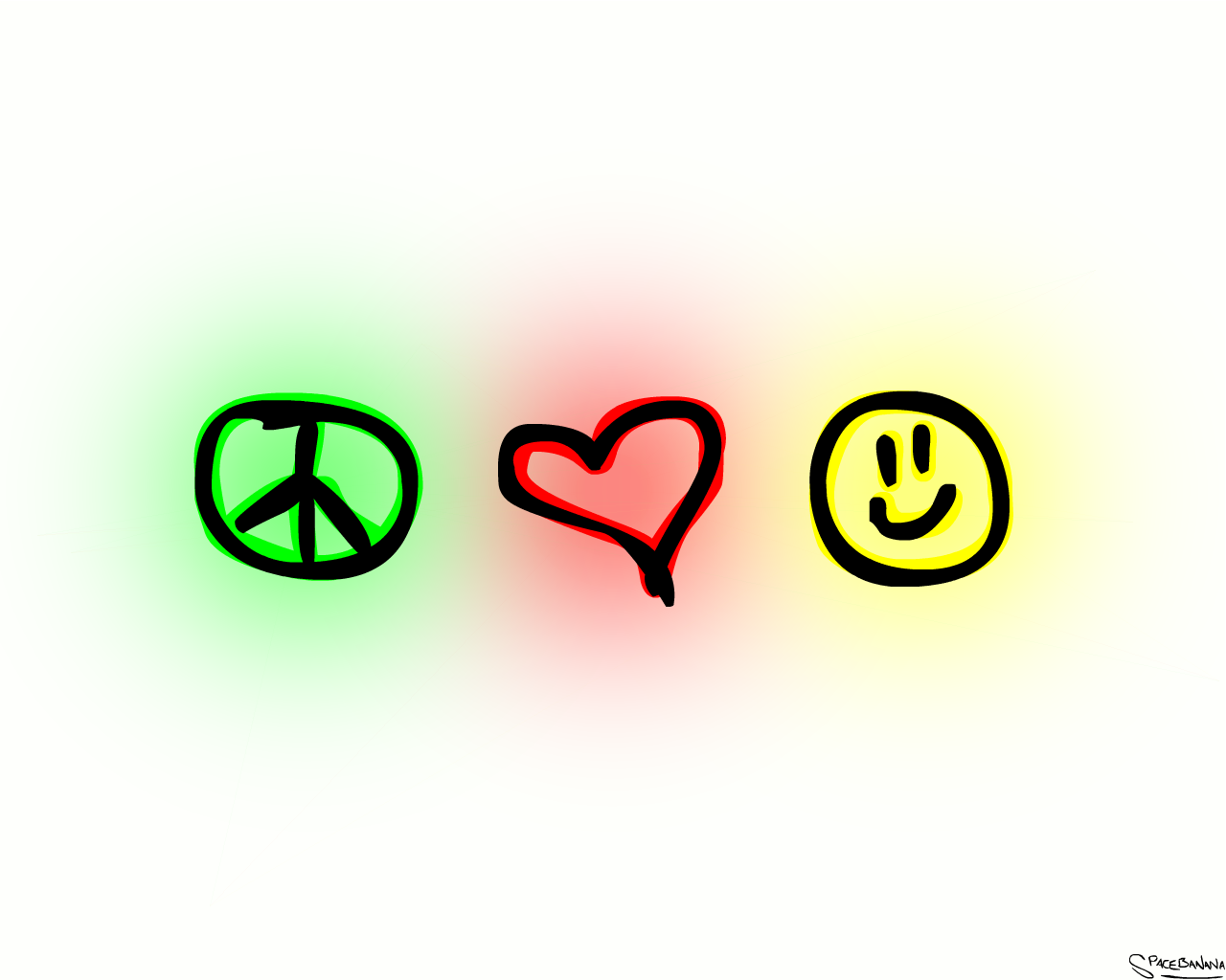 Peace, Love and Happiness by ~SpaceBanana on deviantART