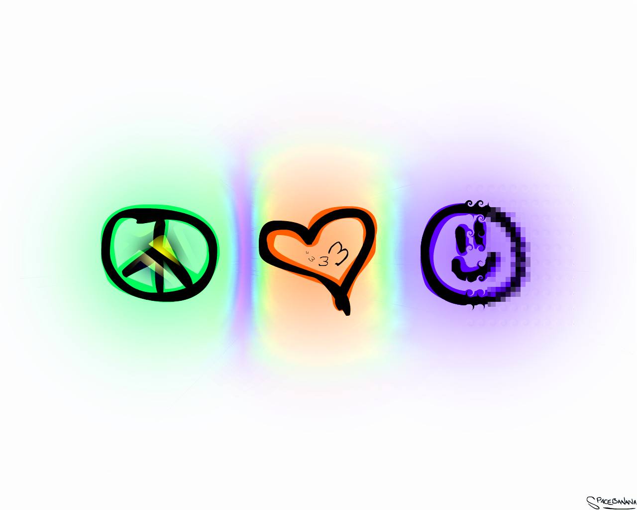 Peace, Love, Happiness + Acid by ~SpaceBanana on deviantART