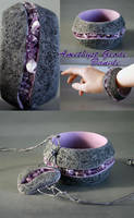Amethyst Geode Style Bangle Bracelet and Pendant by wizardcopy