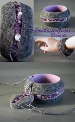 Amethyst Geode Style Bangle Bracelet and Pendant