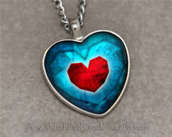 Zelda Heart Piece Container Necklace Pendant by wizardcopy