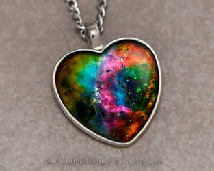 Nebula Galaxy Glass Pendant by wizardcopy