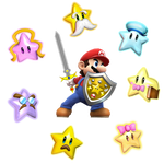 Mario the knight with star spirits
