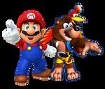 Mario with Banjo and Kazooie