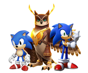 Longclaw with Modern Sonic and Classic Sonic