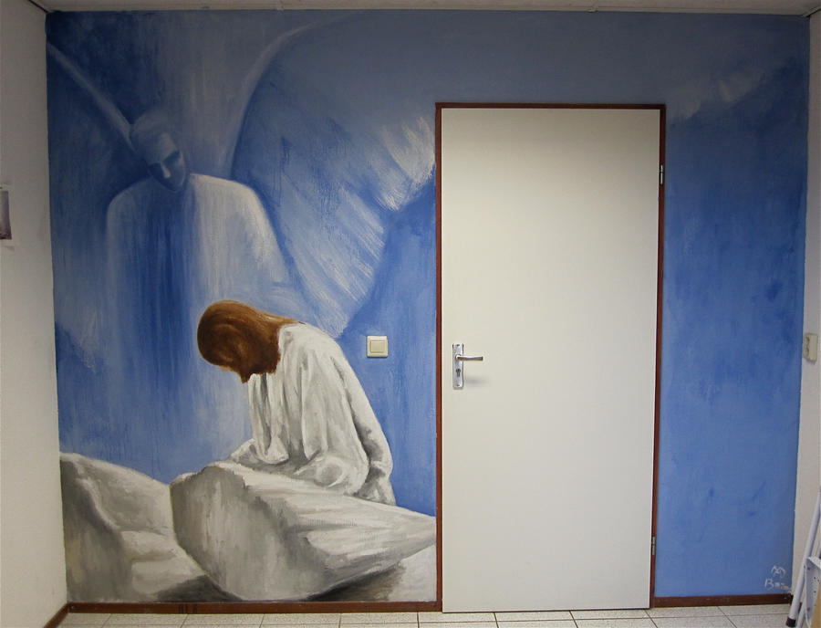 Jesus Wall Decoration : Angel and jesus wall painting by mandyart on deviantart
