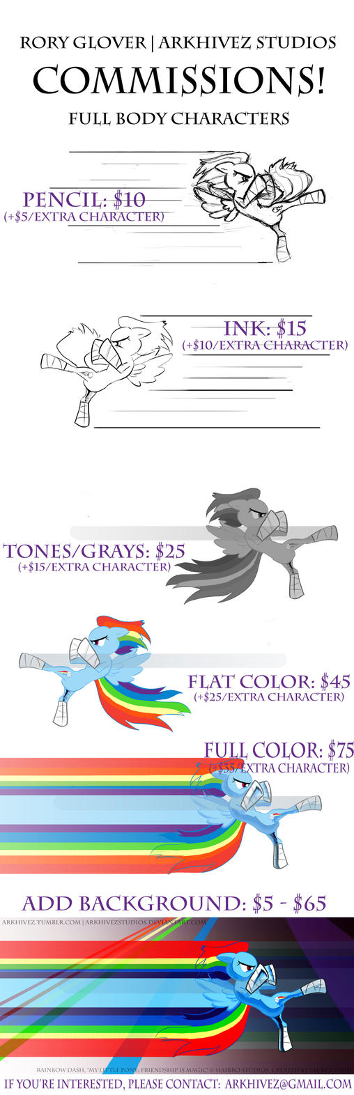 Arkhivez Commission Rates - Rainbow Dash Edition by ArkhivezStudios