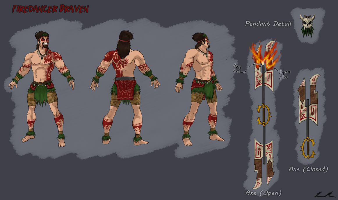 Firedancer Draven Reference Sheet by Dargonite