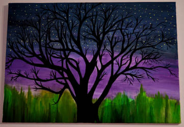 Lonely Tree in a Purple Night by zeynepHCGL