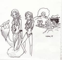 03 Free Sketch : Anne and Maiko in Summer by LeraNamiRobin