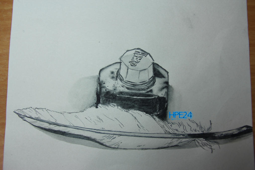 Ink bottle and quill drawing thing by HPE24 on DeviantArt