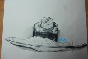 Ink bottle and quill drawing thing by HPE24