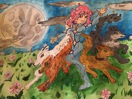 Wolves and lunar flower by Jillianbeeler