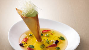 Fruit Soup with Sorbet