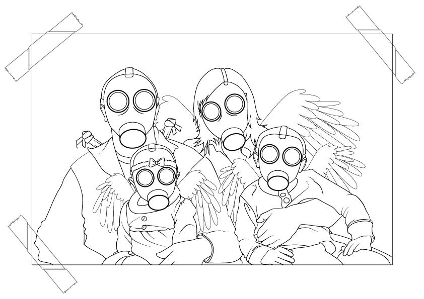 Gasmask Angel Family Photo by ChewedKandi