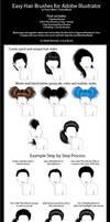 Easy Hair Brushes for Adobe Illustrator by ChewedKandi