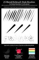 25 Blend/Airbrush Style Brushes for Illustrator by ChewedKandi