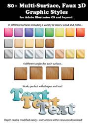 80+ Multi-Surface, Faux 3D Graphic Styles by ChewedKandi
