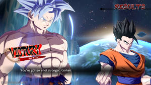 Goku (Ultra Instinct) fights alongside Gohan