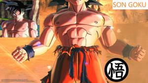 Goku's muscular body