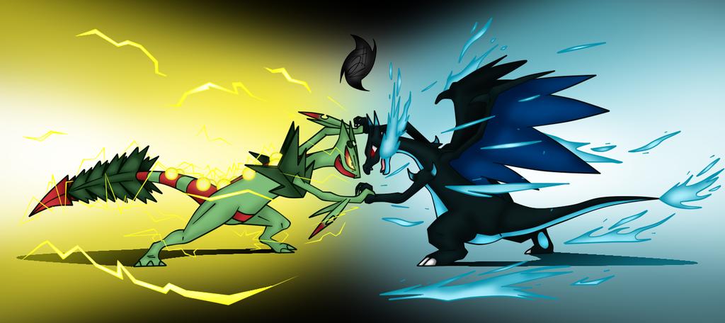 Mega Sceptile vs Mega Charizard x by Jhony-Rex on DeviantArt