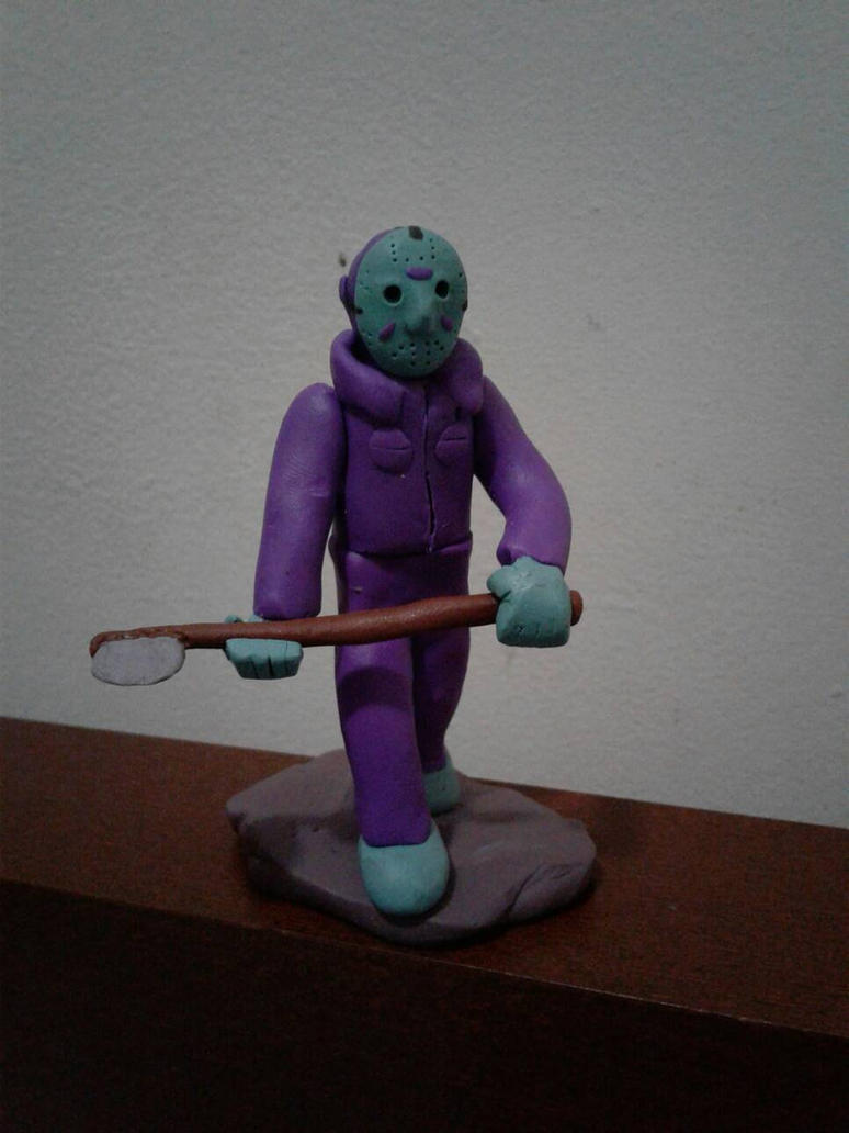 Retro Jason Voorhees clay model by luigihorror64