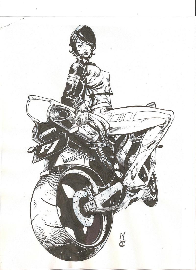 guys garage ideas - Biker Girl 2 inks by peke peke on DeviantArt
