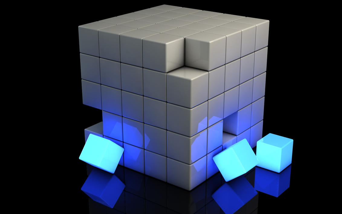Incomplete glowing blue cube by Dracu-Teufel666