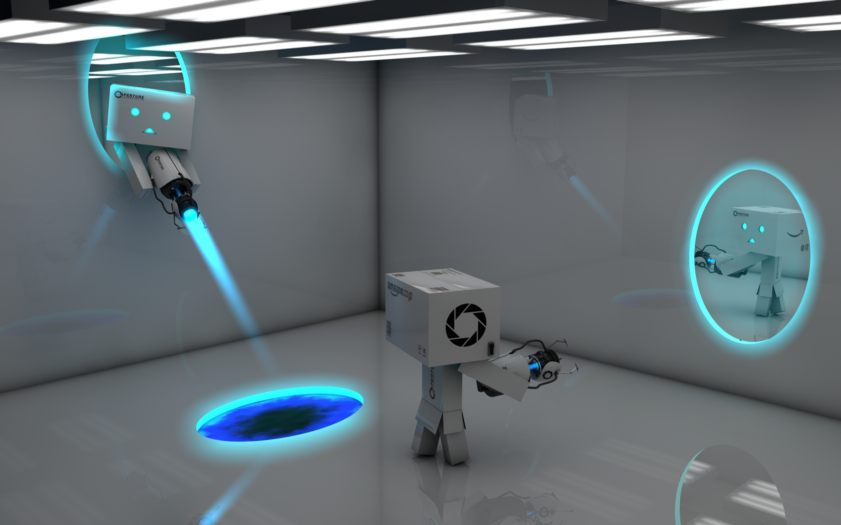 Danbo plays with Portal Gun by Dracu-Teufel666