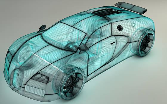 Bugatti Veyron 3D Mesh XRAY by Dracu-Teufel666