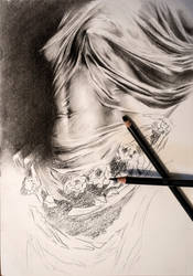Modesty - CHARCOAL DRAWING by Astartte