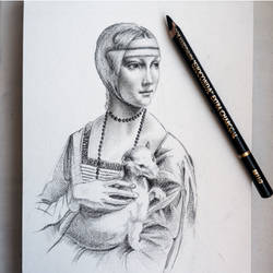 The Lady with an Ermine - CHARCOAL DRAWING by Astartte