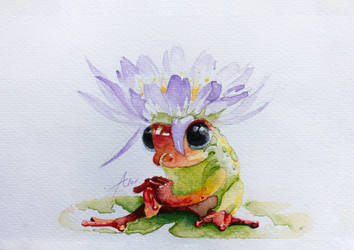 Fashion Frog - WATERCOLORS PAINTING