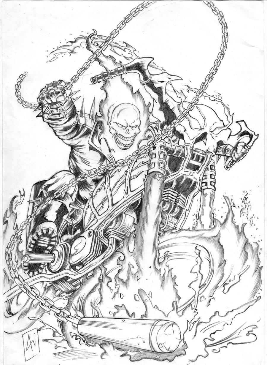 Ghost Rider By Bangali On Deviantart Coloring Pages